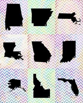 USA State Posters - Watercolor Chevron Design