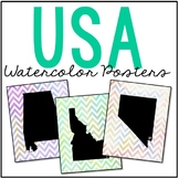 FREEBIE! USA State Map Posters - Watercolor Chevron Design