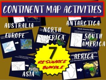 ALL 7 Map Activities (Asia, N/S America, Australia, Africa