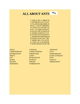 ALL ABOUT ANTS WORD SEARCH