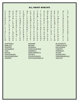 ALL ABOUT BOBCATS WORD SEARCH