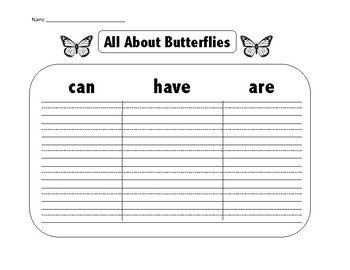 ALL ABOUT BUTTERFLIES GRAPHIC ORGANIZER