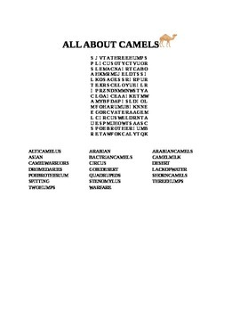 ALL ABOUT CAMELS WORD SEARCH