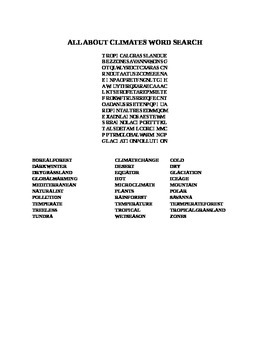 ALL ABOUT CLIMATES WORD SEARCH