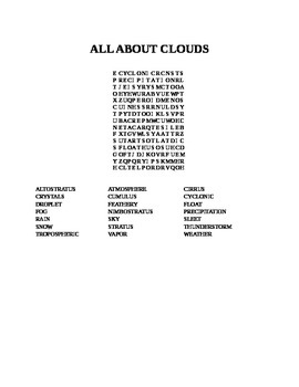 ALL ABOUT CLOUDS WORD SEARCH