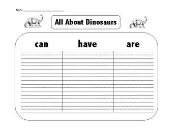 ALL ABOUT DINOSAURS GRAPHIC ORGANIZER