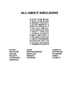 ALL ABOUT EMULSIONS WORD SEARCH