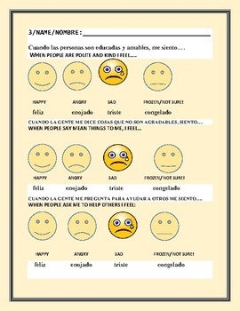 ALL ABOUT FEELINGS: A SURVEY FOR GRADES 2-6, ESL: BILINGUAL: SPANISH