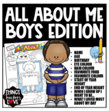 All About Me Template for Boys in Kindy, Prep, Primary School