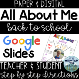 ALL ABOUT ME--Back to School--Digital or Paper