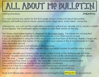 ALL ABOUT ME FOLDABLE POSTER BULLETIN BOARD BACK TO SCHOOL  CULTURE ICE BREAKER