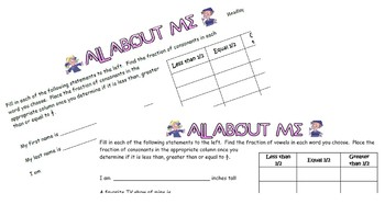 ALL ABOUT ME - FRACTIONS (GREATER,LESS OR = 1/2)