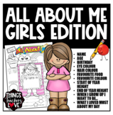 All About Me Template for Girls in Kindy, Prep, Primary School