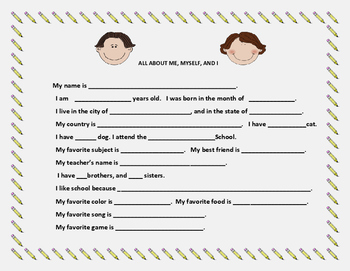 ALL ABOUT ME, MYSELF, AND I: Back to School Activity  K-2