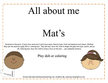 ALL ABOUT ME PLAY DOH MATS