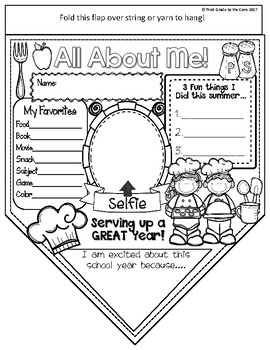 ALL ABOUT ME Pennant Banner- Back To School - COOKING THEME