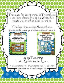 ALL ABOUT ME Pennant Banner Back to School- Swamp Theme