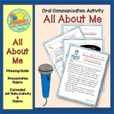Oral Presentation - All About Me Graphic Organizers and Presentation Rubric