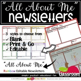 ALL ABOUT ME RAINBOW NEWSLETTERS - EDITABLE IN POWERPOINT