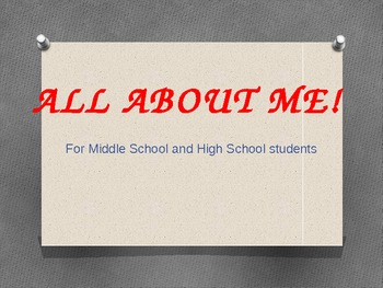 ALL ABOUT ME!  Social/Emotional Development