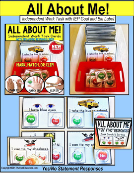 "ALL ABOUT ME Task Cards with YES/NO Responses ""Task Box Filler"" for Autism"