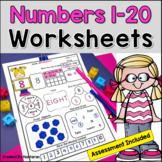 Numbers 1-20 Worksheets + Assessment Writing and Tracing