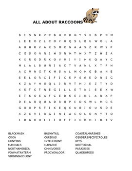 ALL ABOUT RACCOONS WORD SEARCH