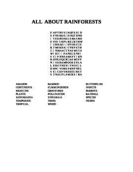 ALL ABOUT RAINFORESTS WORD SEARCH