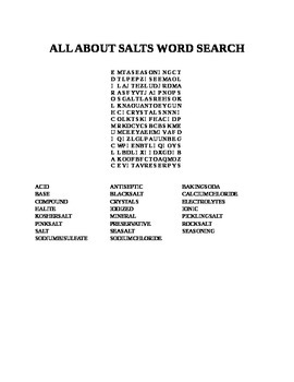 ALL ABOUT SALTS WORD SEARCH