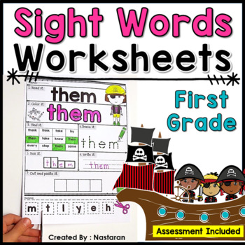 Sight Words Practice Pages  +Assessment {1st Grade }