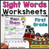 First Grade Sight Words Worksheets + Assessment  High Frequency Words Practice