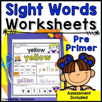 Sight Words Worksheets PrePrimer