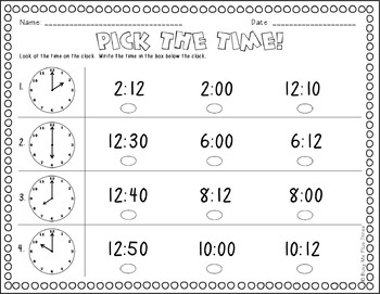 ALL ABOUT TELLING TIME to the Hour and Half Hour, First & Second Grade