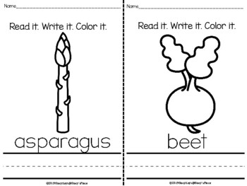 Mini-Booklet: Vegetables. Read it. Write it. Color it.