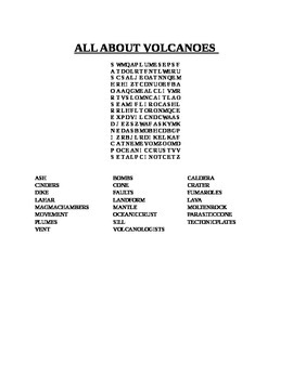 ALL ABOUT VOLCANOES WORD SEARCH