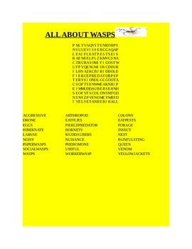 ALL ABOUT WASPS WORD SEARCH