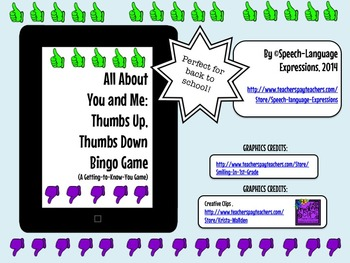 ALL ABOUT YOU AND ME BINGO GAME (Back to School, Getting to Know You)