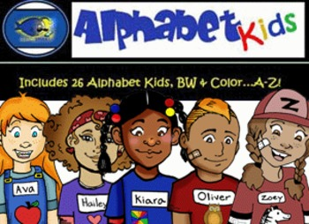 ALL Alphabet Kids A-Z BUNDLE Clip-Art! BW & Color, 52 Piec