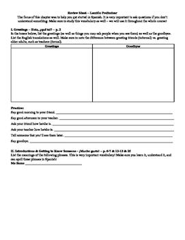 Avancemos 1 All Unidad Review Sheets Bundle