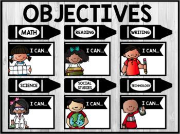 ALL Bulletin Board Objectives/ I Can Statements - Rainbow, Pastels, B&W