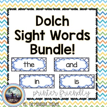 ALL Dolch Sight Word Rings/Word Wall Words/Flash Cards BUNDLE