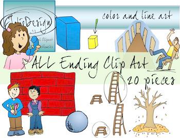 ALL Ending Phonics Clipart Set - Color and Line Art 20 pc set