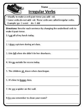 ALL Irregular Verbs Worksheets Irregular Verbs Practice Grammar Activities