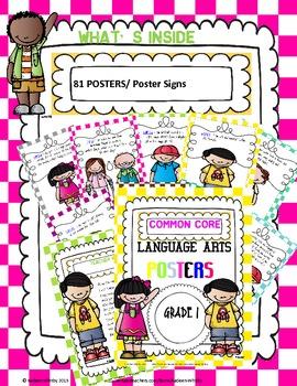 LANGUAGE ARTS COMMON CORE STANDARD POSTERS grade 1