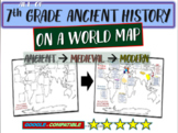 ALL OF 7TH GRADE HISTORY ON A MAP Activity: follow-along 50-slide PPT & handouts