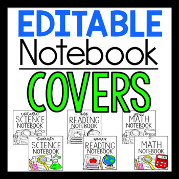 ALL SUBJECTS EDITABLE Notebook Covers
