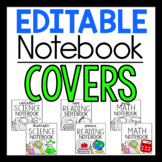 EDITABLE Notebook Covers - 12 Styles in Color and BW
