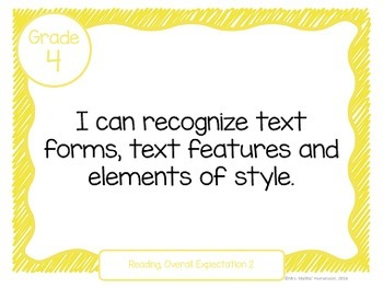 """Learning Goals Grade 4 """"I Can"""" Statements (Ontario)"""