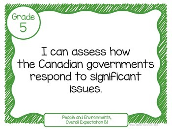 """Learning Goals Grade 5 """"I Can"""" Statements (Ontario)"""
