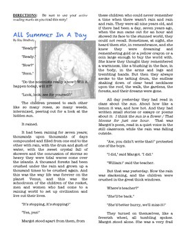 ALL SUMMER IN A DAY Ray Bradbury text short stories science fiction